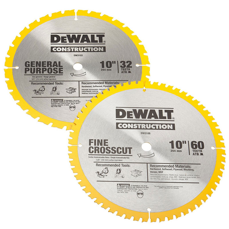 Dewalt Accs 10In 32 T and 60T Saw Blade Double Pack