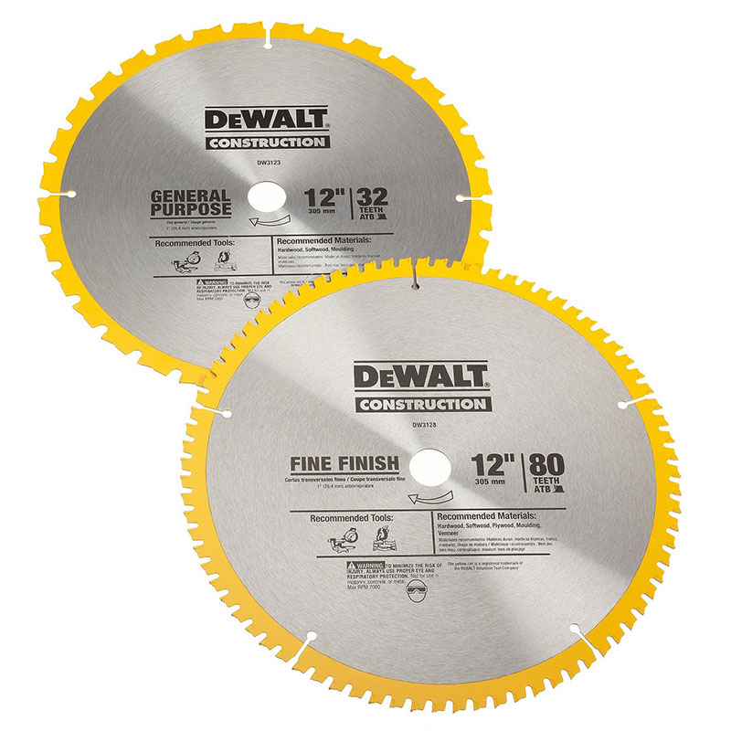 Dewalt Accs 12In 32T and 80T Saw Blade Double Pack